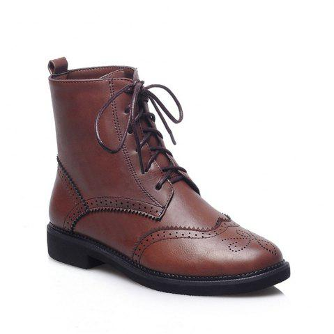 New Women Shoes Low Heel Lace-up Combat Boots