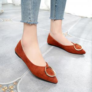 Top Metal Buttoned Flat Sole Shoes -