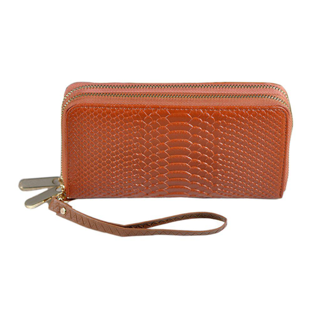 Chic Ladies Long Double Zip Wallet Clutch with Wristlet