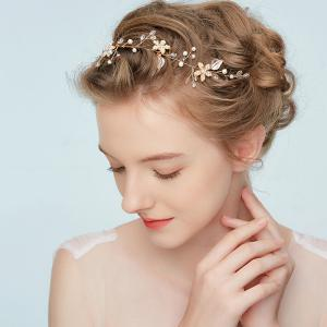 Gold Flower Headband Hair Jewelry for Wedding Bride -
