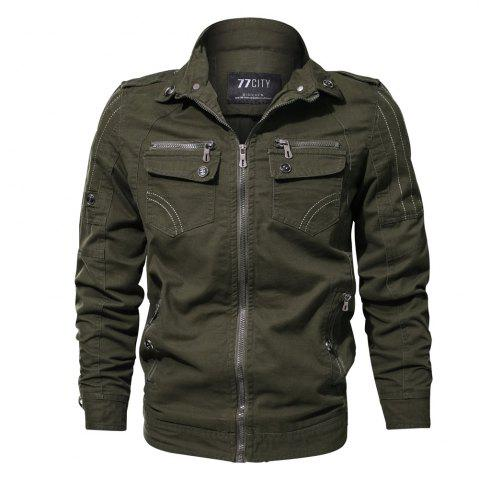 Online 2018 New Spring and Autumn multi-pocket Military Equipment Plus Size Jacket
