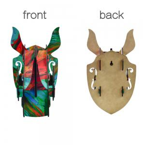 Wall Decor 3D Puzzle Wooden Rhino Hanging Home Decoration DIY Wall Sticker Animal Sculpture Craft -