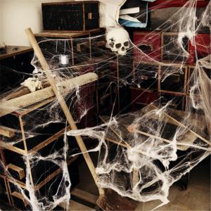 Party Scene Props White Stretched Spider Web Horror Decoration for Bar Haunted House -