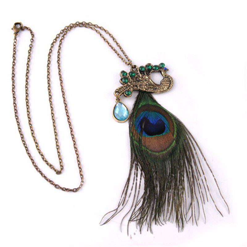 Online Fully-Jewelled Peacock Pendant Women Necklace Bohemian Stylish Phoenix Sweater Chain Ornament