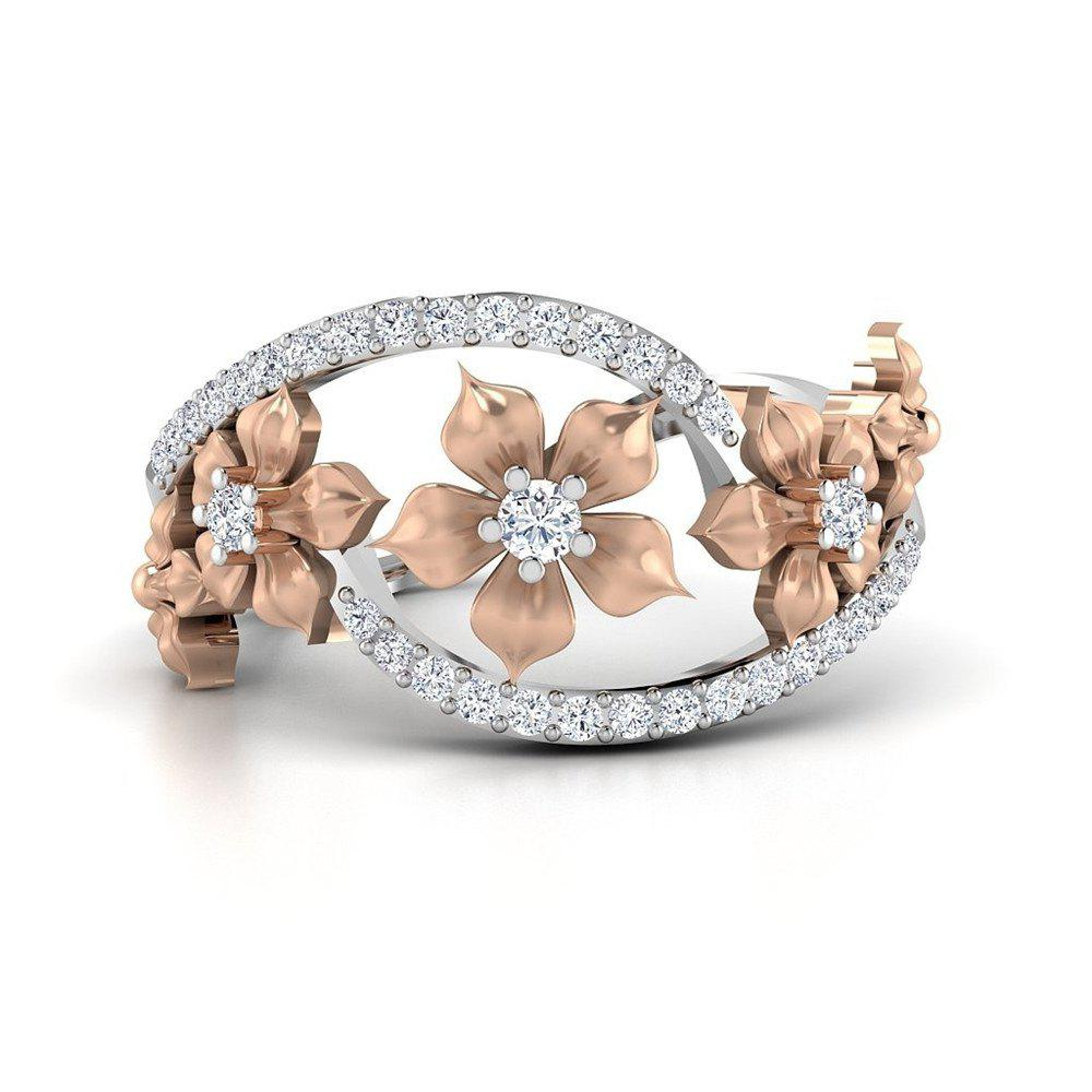 Outfits Rose Gold Flower Diamond Ring