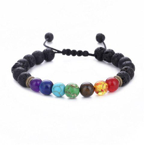 New Seven Chakra Energy Stone Natural Sapphire Tiger Eye Adjustable Braided Yoga Bracelet Woman