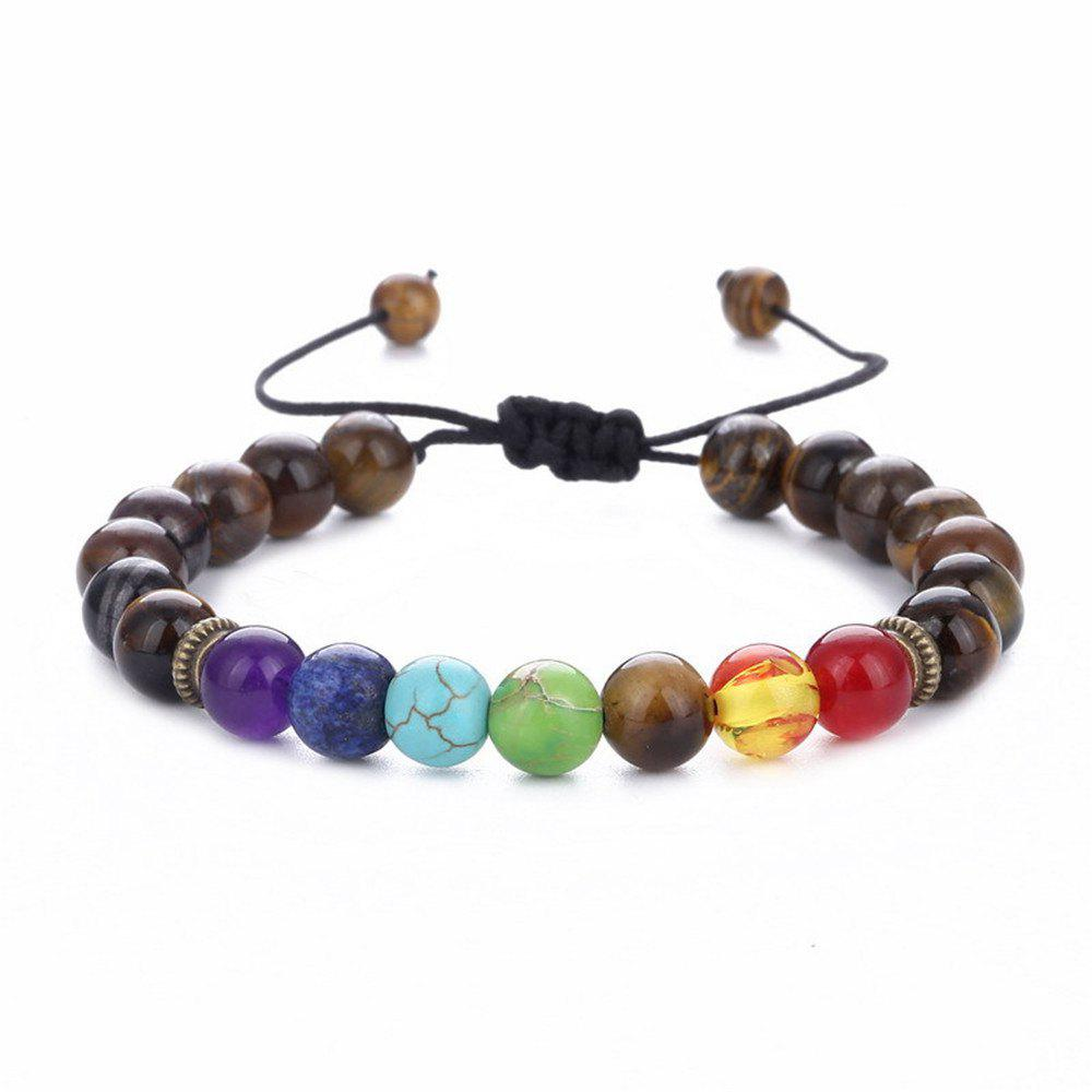 Outfits Seven Chakra Energy Stone Natural Sapphire Tiger Eye Adjustable Braided Yoga Bracelet Woman