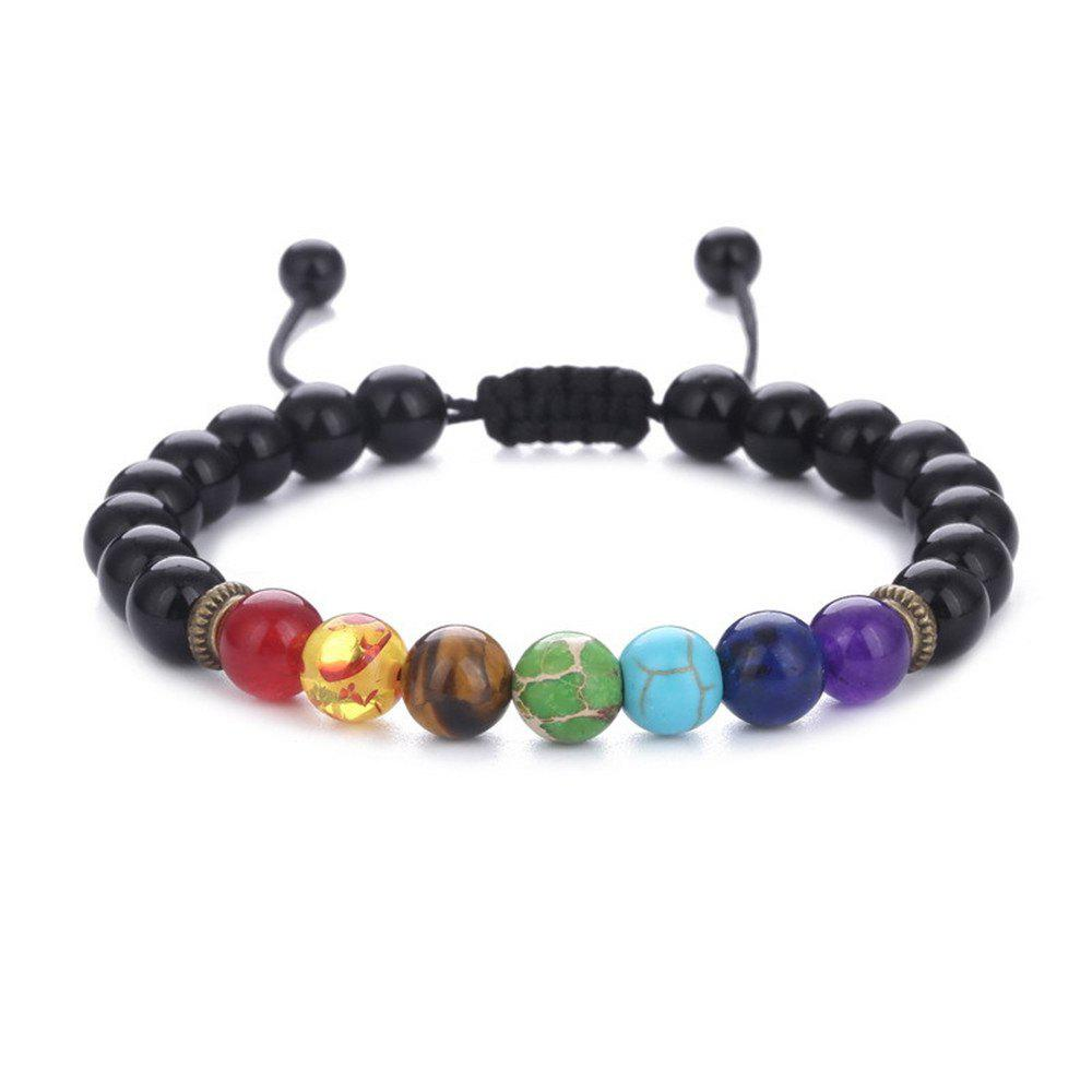Online Seven Chakra Energy Stone Natural Sapphire Tiger Eye Adjustable Braided Yoga Bracelet Woman