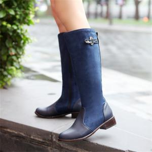 Femmes Chaussures Low Heel Mode Hiver Cuissardes Bottes -