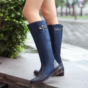 Women Shoes Low Heel Fashion Winter Knee High Boots -