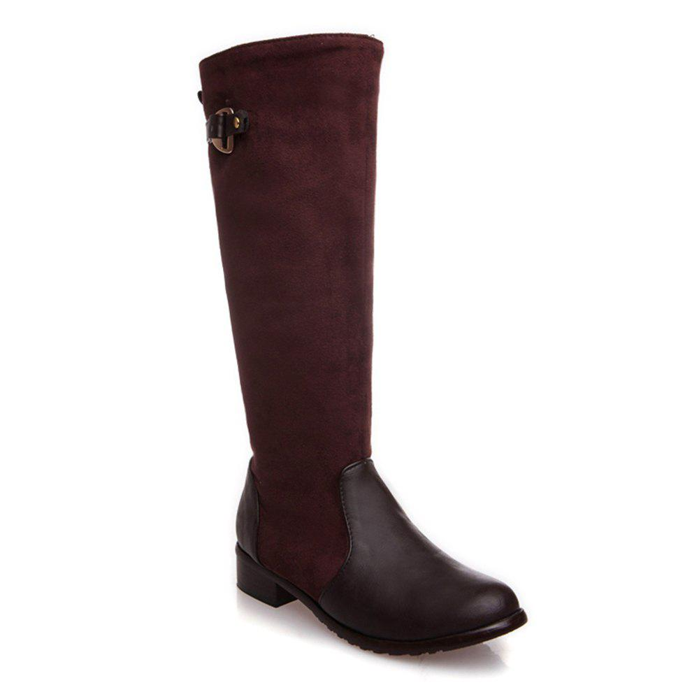 Femmes Chaussures Low Heel Mode Hiver Cuissardes Bottes