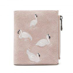 Fashion Women Short Wallet Flamingos Embroider Design PU Leather Zipper Card Holder Mini Female Coin Purse -