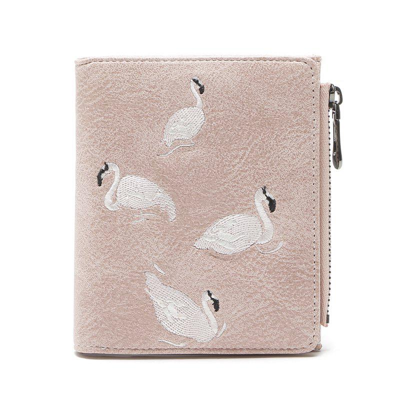 Mode Femmes Court Portefeuille Flamants Embroider Conception PU En Cuir Zipper Carte Titulaire Mini Femme Coin Bourse