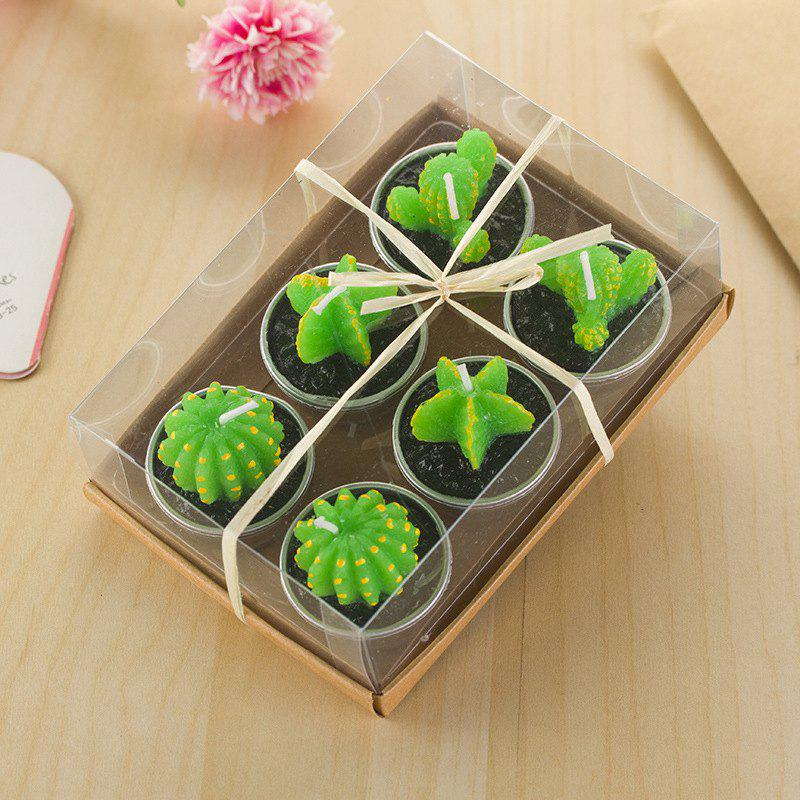Discount Decorative Cactus Candles Tea Light Candles 6 Pcs