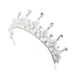Silver and Red Crystal Crown for Wedding Headband Hair Jewelry -