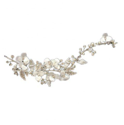 Best Exqusite Bead Strand Fabric Flower Hair Vine Headband for Wedding Bride Jewelry