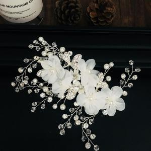 Fabric Flower with Crystal Alloy Hair Jewelry for Wedding Bride -