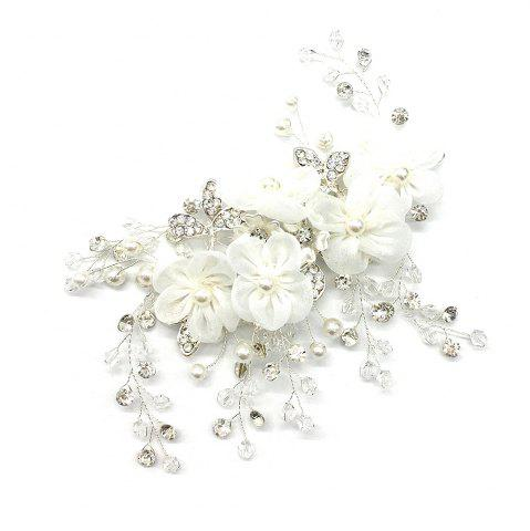 Outfits Fabric Flower with Crystal Alloy Hair Jewelry for Wedding Bride