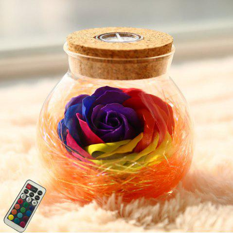 Outfits BRELONG LED Colorful Rose Vase Remote Control Glowing Glass Bottles Decoration