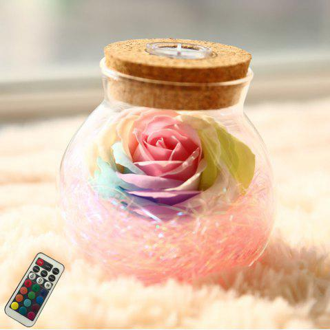 Unique BRELONG LED Colorful Rose Vase Remote Control Glowing Glass Bottles Decoration