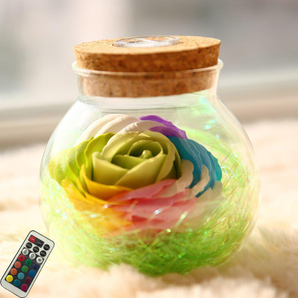 Discount BRELONG LED Colorful Rose Vase Remote Control Glowing Glass Bottles Decoration