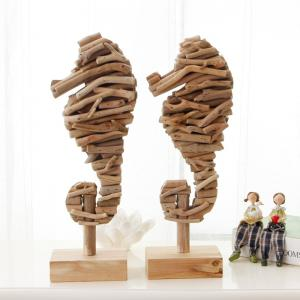 Mediterranean Style Wood Sea Horse Figurines Creative Animal Ornaments Home Nautical Decoration Crafts -