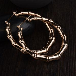 Hotsales Oversized Bamboo Exaggerated Gold Nightclub Earrings for Women -