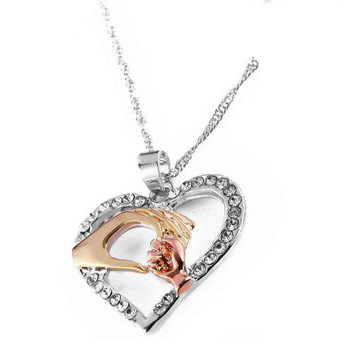 Latest Three Colors Hand in Hand with Heart Collarbone Necklace