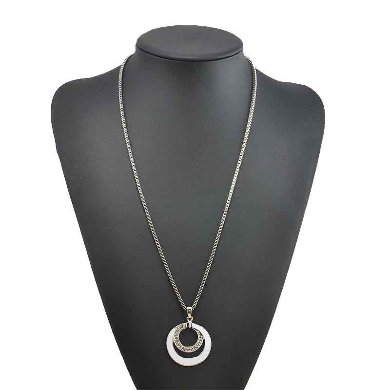 Fancy High-end Fashion with Silver Double-ring Necklace