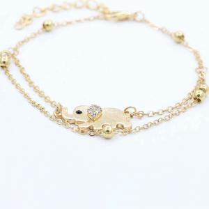 Fashionable Auspicious Small Elephant Titanium Steel Double Layer Female Foot Chain -