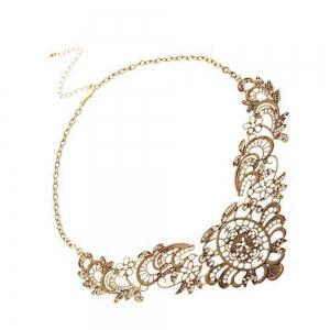 Luxury and Elegant Lace Metal Flowers and Short Necklaces -