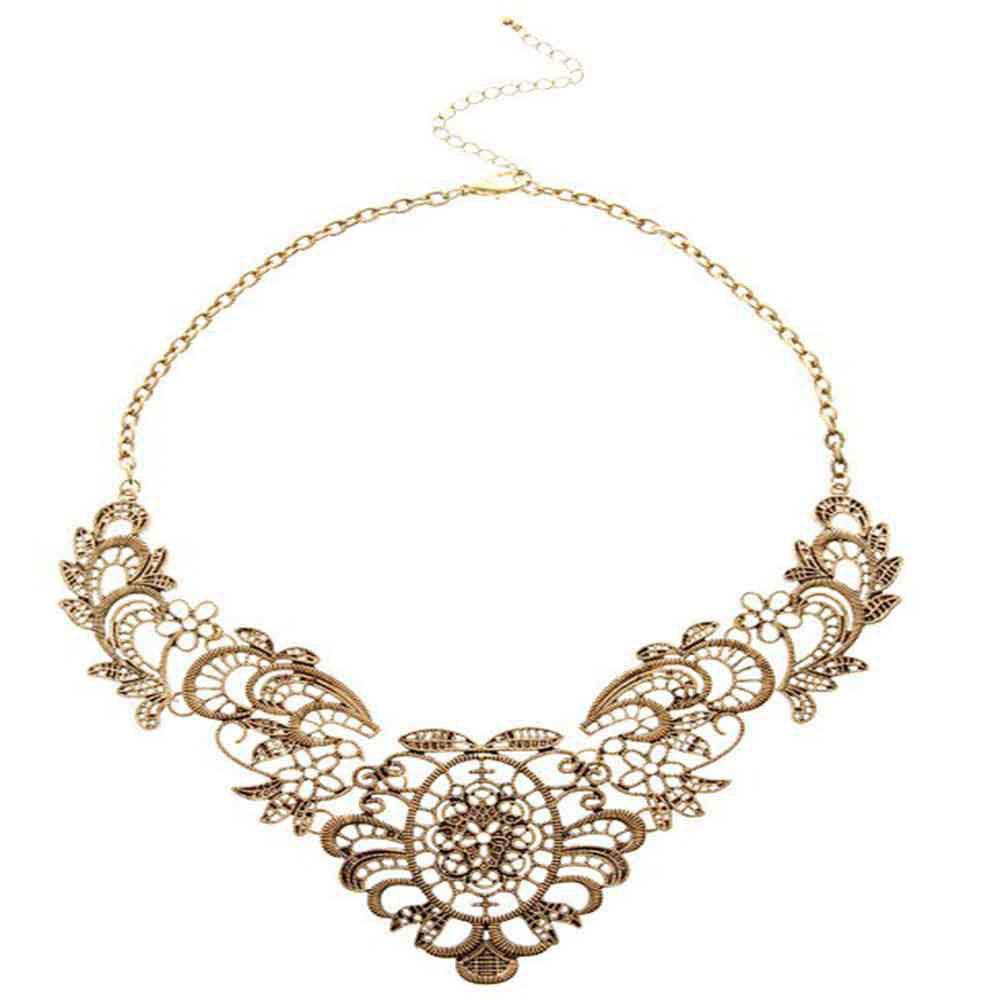 Sale Luxury and Elegant Lace Metal Flowers and Short Necklaces