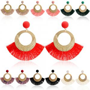 Boucles d'oreilles Bohème National Wind Metal Cercle Fan Silk Tassel Wild -
