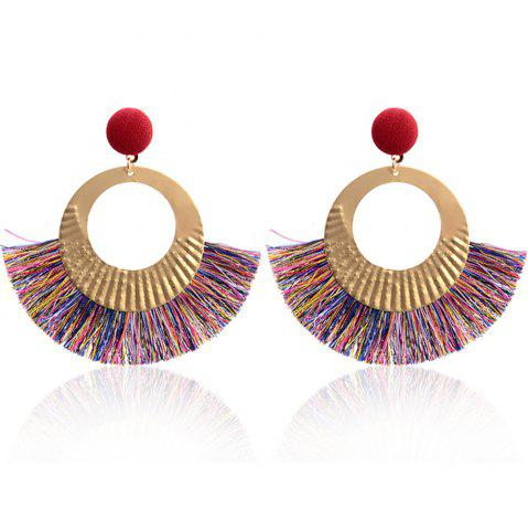 Boucles d'oreilles Bohème National Wind Metal Cercle Fan Silk Tassel Wild