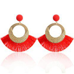 Bohemian Earrings National Wind Metal Circle Fan Silk Tassel Wild -
