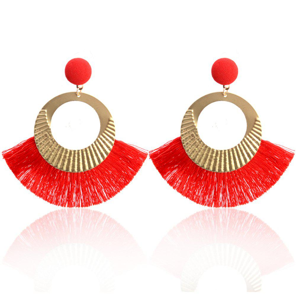 Affordable Bohemian Earrings National Wind Metal Circle Fan Silk Tassel Wild