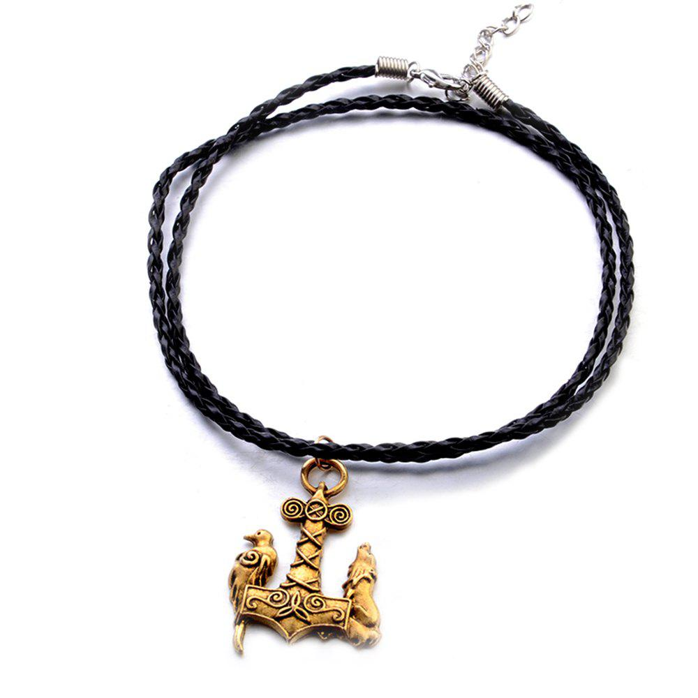 Trendy Nordic Mythology God Hammer Austrian Animal Pendant Fashion Necklace Hipster Accessories