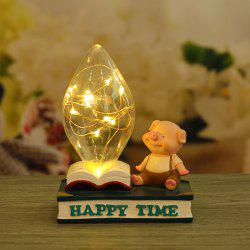 Home Bed Cartoon Pig Night Light Resin Ornaments -
