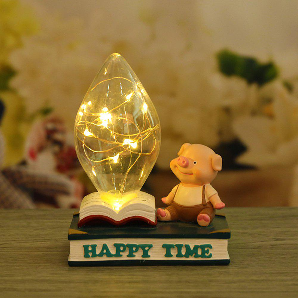 Chic Home Bed Cartoon Pig Night Light Resin Ornaments