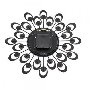 European High-grade Flowers Iron Fashion Mute Bedroom Wall Clock -