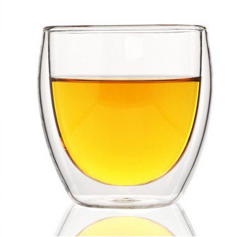 Online 80ML Double Layers Coffee Cup Glass Water Cup