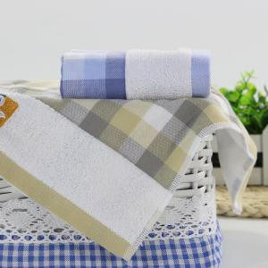 Fashion Gauze Towel Grid Pattern Face Hair Wash Towel Home Bathroom and Travel Cotton Washcloth -