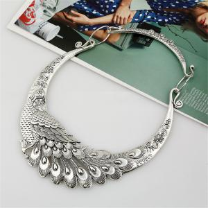 Women Ethnic Bohemian Choker Necklace Peacock Chinese Element Maxi Statement Collar Jewerly -