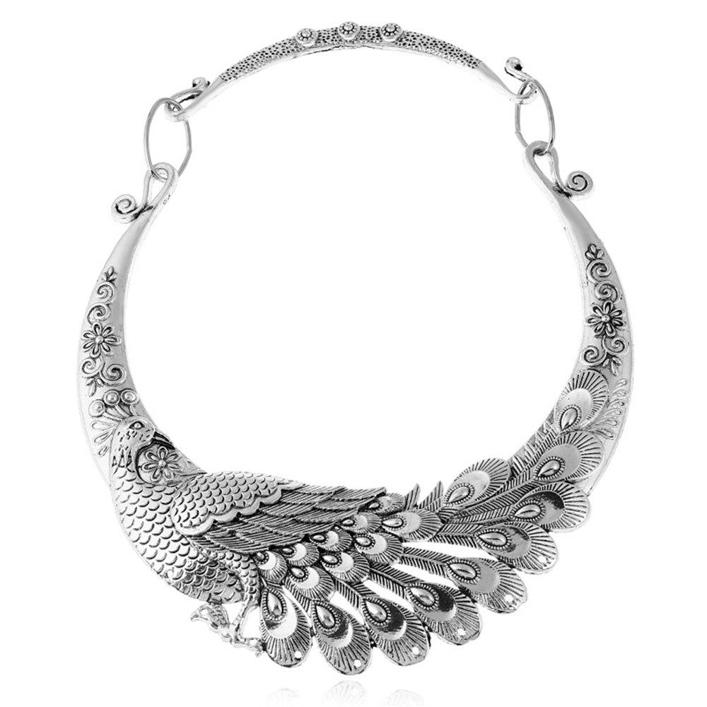 Sale Women Ethnic Bohemian Choker Necklace Peacock Chinese Element Maxi Statement Collar Jewerly