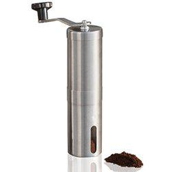 Manual Coffee Grinder Conical Burr Mill Brushed Stainless Steel -