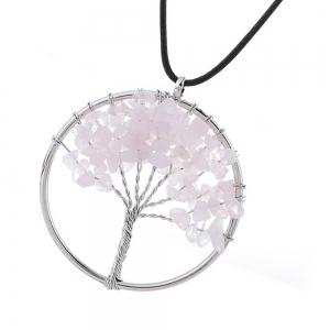 Natural Pink Crystal Necklace Energy Stone Handmade Jewelry -