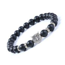 Fashion Matte Blackstone Bracelet Woman Owl Jewelry -