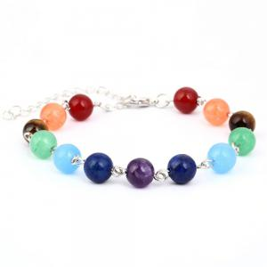 Stylish Minimalist Natural Stone Colorful Beads Yoga Energy Chakra Bracelet Woman -