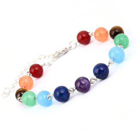 Chic Stylish Minimalist Natural Stone Colorful Beads Yoga Energy Chakra Bracelet Woman