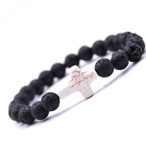 Buy Fashion Minimalist Cross Turquoise Jewelry Lava Volcano Stone Bracelet Woman